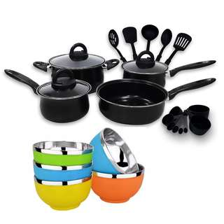 20-piece Cookware with Nylon Utensil with 5pc Korean Bowl