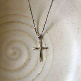 18k White Gold Cross with Diamond