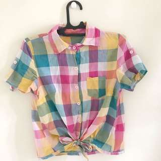 colourful plaid shirt (hem checkered cropped)