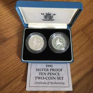Great Britain UK 1992 10 pence silver proof coins