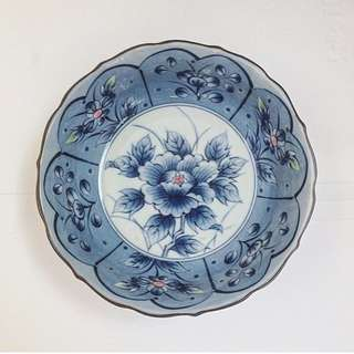 Blue bowl with floral design