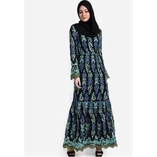 Zalia-Floral Laced Pieced Dress