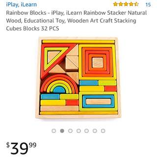 Rainbow wooden stacking cubes blocks