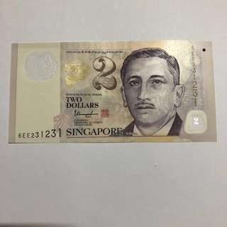[231231] Portrait Series $2 Singapore banknote (Repeater)