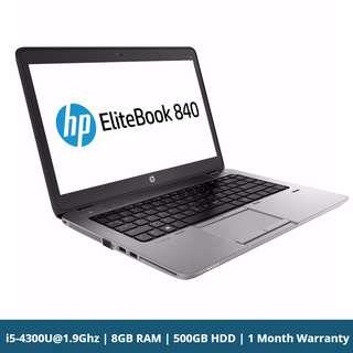 HP Elitebook 840 G1 14'' LED ultrabook Notebook Business Laptop Core i5-4300U@1.9Ghz 8GB RAM 500GB HDD Win 10 Pro