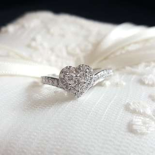 18K 併心鑽石戒指