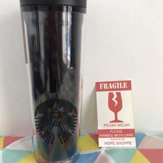 Starbucks Tumbler Original Triple Black Siren Logo Grande Plastic Acrylic Starbuck Kopi Asli
