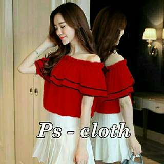 Ec Sabrina pinpin red l atasan fashion baju merah blouse red wanita