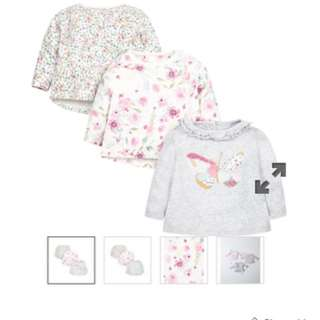 Brand New Floral and Butterfly Tops 3 pack Size 12-18 months