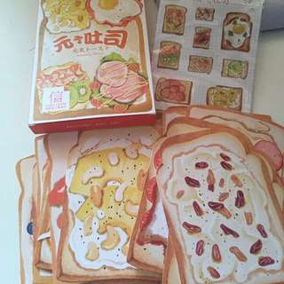 Toast postcards and sticker