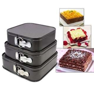Square Shape Cake Mould Set of 3 (Black)