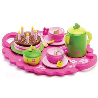 BN Wooden Birthday Tea Party Green & Pink Play Set w/Serving Tray