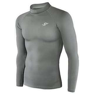 Take Five Mens Compression Base Layer Gray Long Sleeve Shirt Sportswear Large
