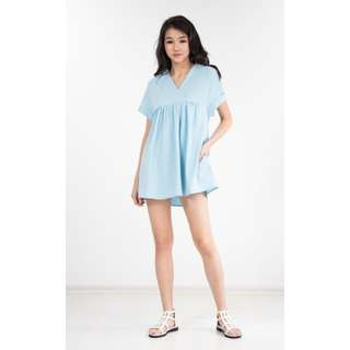 Ninth Collective Jelyka Babydoll Romper in Baby Blue