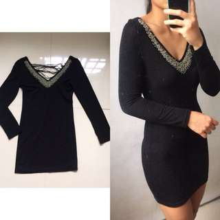 Bodycon Black Beaded Dress