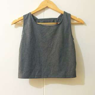 Gray Caged Back Cropped Top