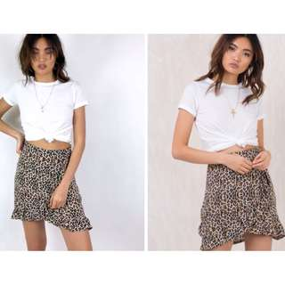 Leopard print skirt with ruffle detail