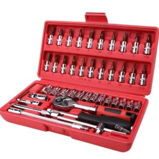 "46pc Spanner Socket Set 1/4"" Car Repair Tool Ratchet Wrench Set hand Tool"