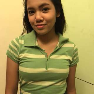 Green striped polo shirt