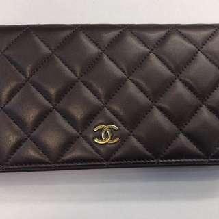 正品 85%新 Chanel 深紫色對摺長銀包