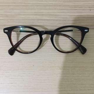 韓國 款式 眼鏡架 黑色 玳瑁色 金色(已換平光鏡片 價值$180)