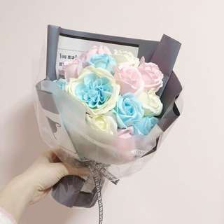 藍/紫/粉/粉藍/粉綠 乾花花束 永生花 情人節禮物 玻璃花 番梘花