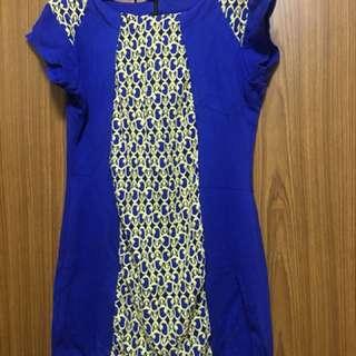Office Dress- Blue & Yellow