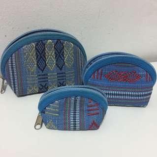 Handmade knit pouches set
