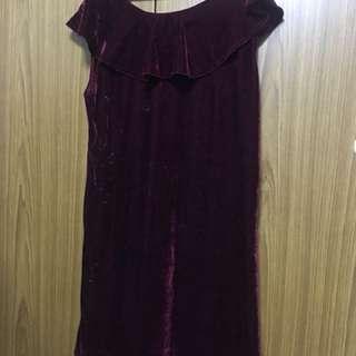 Wine Red Off Shoulder Dress