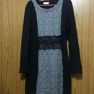 Office Dress - Long Sleeves Black Dress