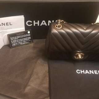 CHANEL BAG 20CM V紋淡金扣