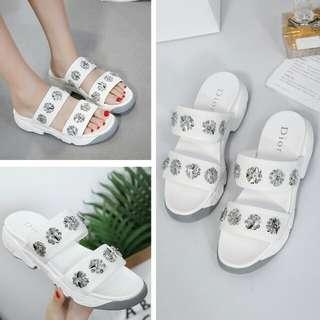 dior fushion sandal size 39 White