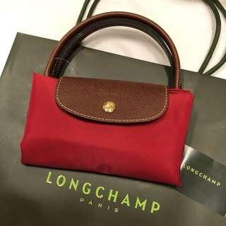 🚚 正全新Longchamp折疊包S尼龍短柄Le Pliage可放長夾黑色