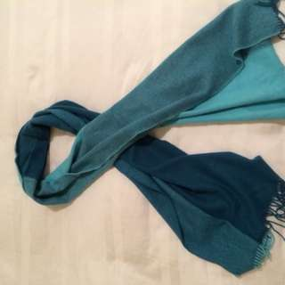100% pure cashmere teal green scarf / wrap - 4 colours in one 🧣