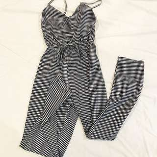 Checked Long Jumpsuit
