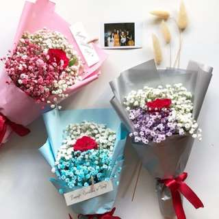 Fresh Flower Bouquet single stalk red rose with either blue / pink / purple mixed with white baby's breath hand bouquet