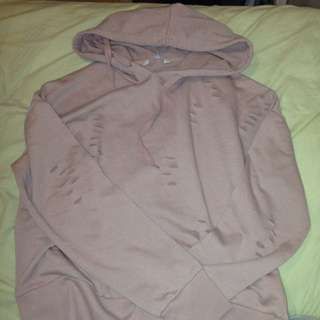 Distressed pink hoodie