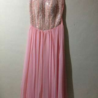[FOR RENT] Peach/ Carnation Pink Gemmed Prom Gown