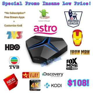 Exclusive Private Model House Special Iron Android Box ( IPTV / ASTRO / Malaysia Channels / TV3 / ASTRO RIA / Malay / TVB / MYIPTV / MoonTV / worldwide channels / TV box)
