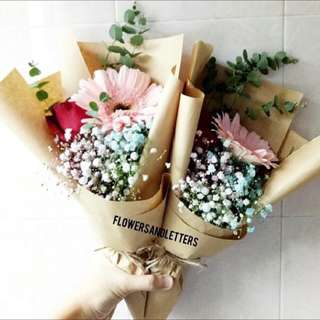 Single stalk of Red Rose, single stalk of Pink gerbera daisy and Mixed Coloured Baby's breath flower bouquet