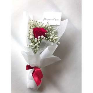 Fresh Flower Bouquet red rose bouquet with white baby's breath in white wrapping paper vday bouquet
