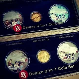 SG50 Commemorative deluxe 3 in 1 coin set