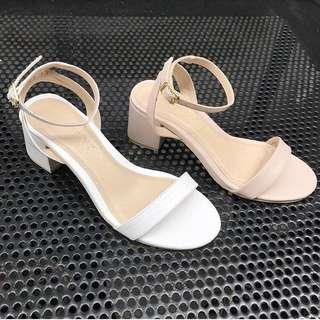 Nude mid heel sandals