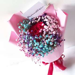 Fresh Flower Bouquet red rose bouquet and mixed purple, pink and blue baby's breath bouquet