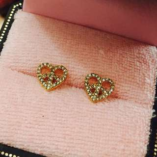 J C gold heart earrings