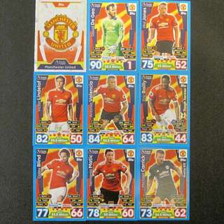 最新 17/18 Match Attax 18 cards TEAM set #MANCHESTER UNITED 曼聯