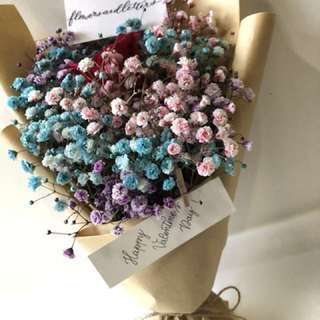 [vday] Fresh Flower Bouquet red rose bouquet baby's breath bouquet