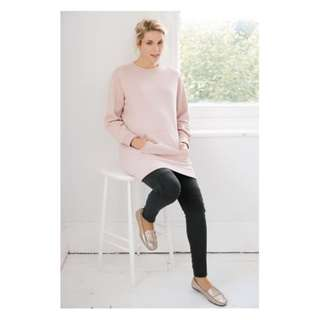 Next 孕婦淡粉紅色有毛底長身保暖睡衣