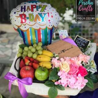 Birthday Fruit Treats + Soap Roses + High Quality Artificial Flowers + Bday Ballon in Normal Air