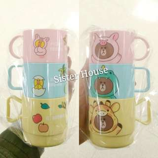 🇰🇷LINE Friends Brown Cup Set 熊大動物膠杯套裝